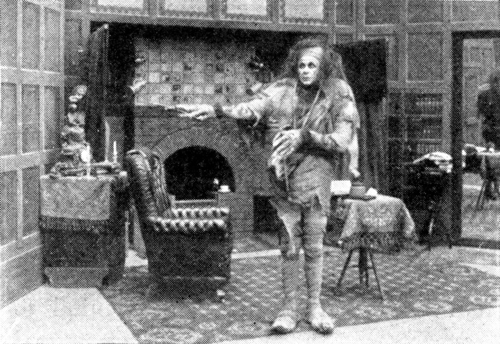 """American actor Charles Stanton Ogle portraying the """"monster"""" in Edison Studios' short film version of Frankenstein (1910), written and directed by J. Searle Dawley."""