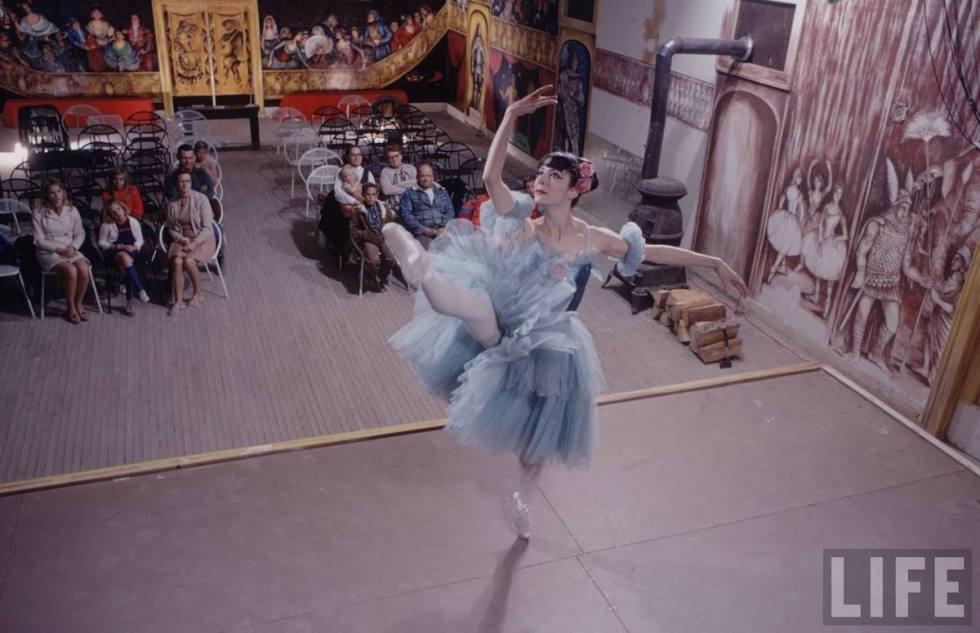 "Marta Becket performing at the ""Amargosa Opera House."""