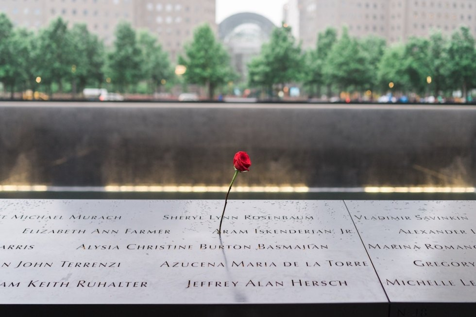 Reflection pool in National September 11 Memorial in New York City, USA.