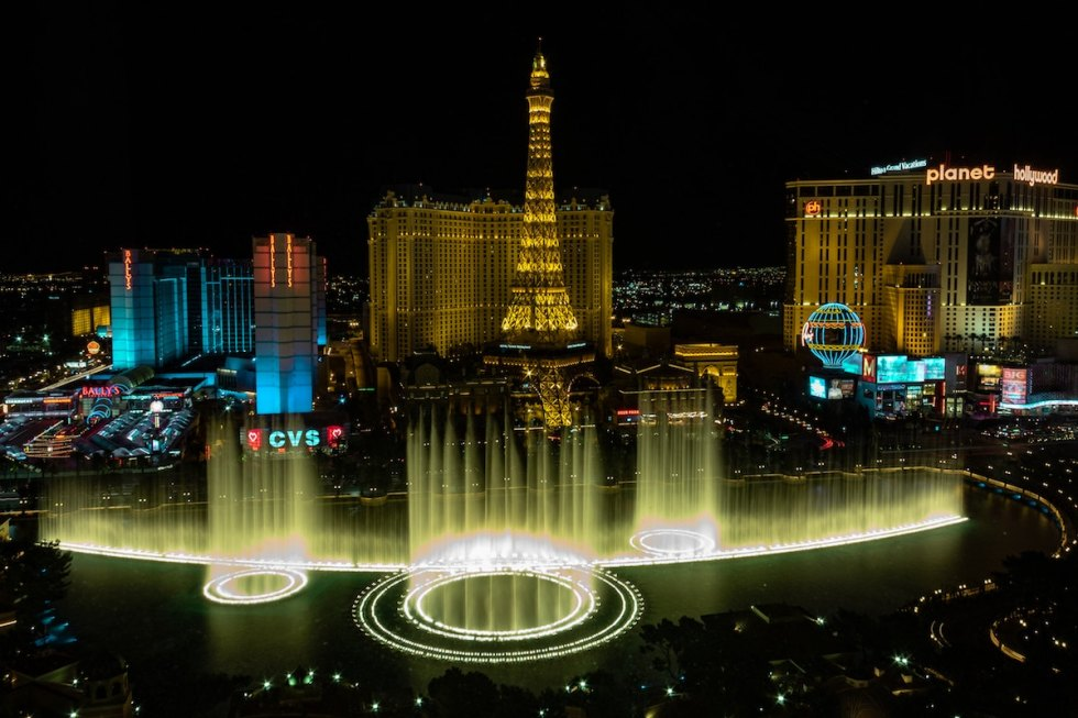 The dancing fountains outside the Bellagio Hotel and Casino in Las Vegas, Nevada, featuring dramatic aquatic shows.