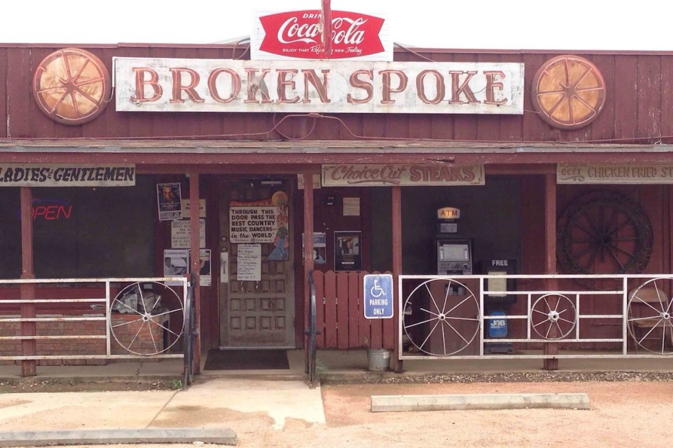 The exterior of Broken Spoke dancehall in Austin, Texas.