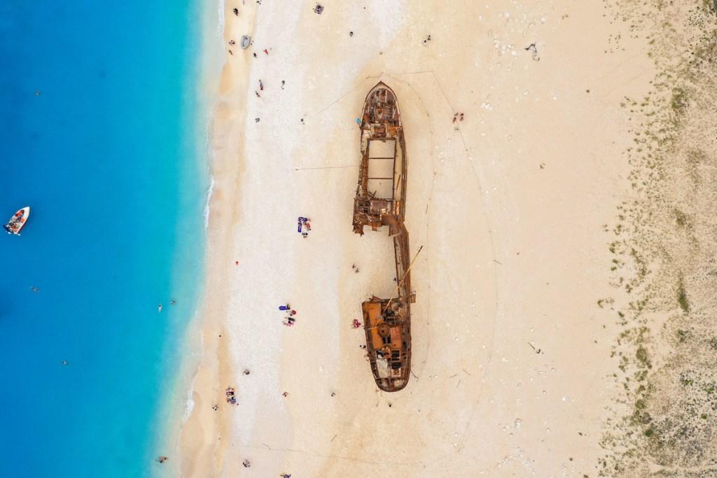 Aerial view of Navagio (Shipwreck beach) in Zakynthos, Greece.