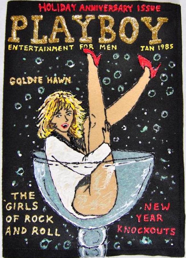 Felt Playboy magazine for Lucy Sparrow's provocative installation Madame Roxy's Erotic Emporium, Soho, London, October 2015.