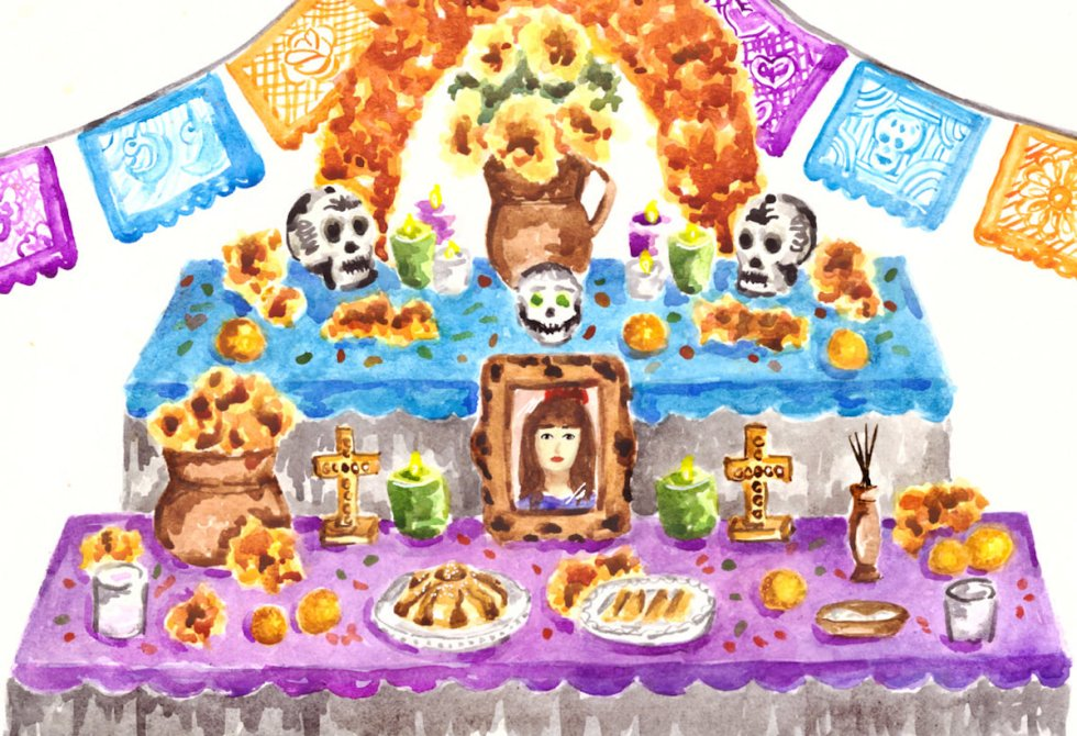 Mexican Day of the Dead altar in watercolor.