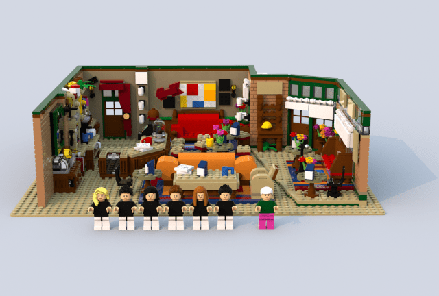 F.R.I.E.N.D.S. Central Perk coffee shop as a potential upcoming LEGO product created by French designer Aymeric Fievet using 1749 pieces.