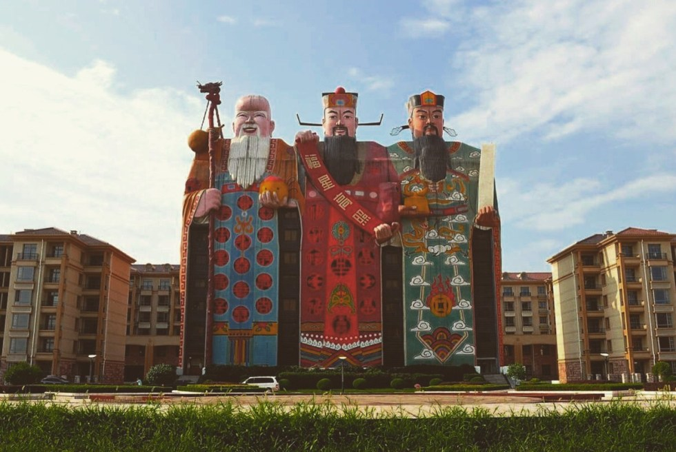 "Located in Langfang, Hebei province, China, the trio of ancient Chinese deities of Tianzi Hotel represents ""the good life."""