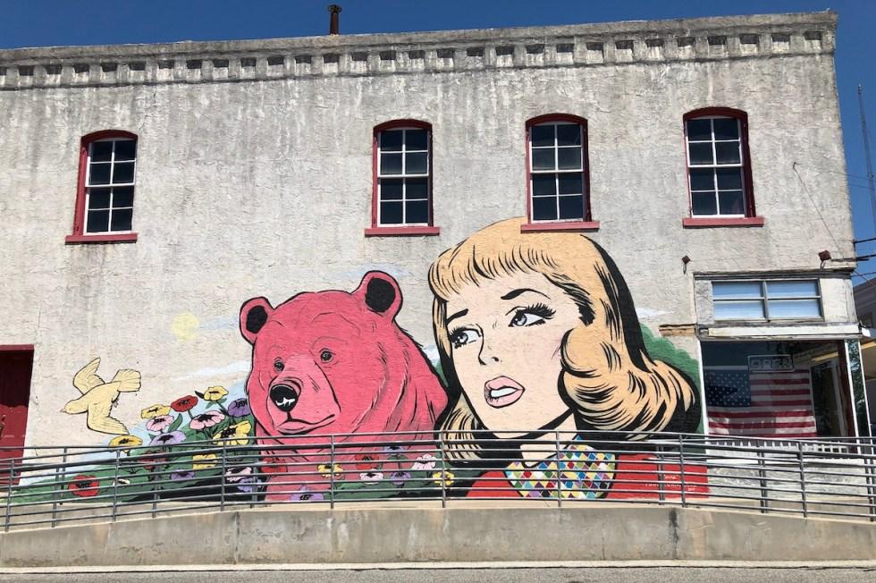 Mural outside Corner Liquor Store in Brenham, Texas.