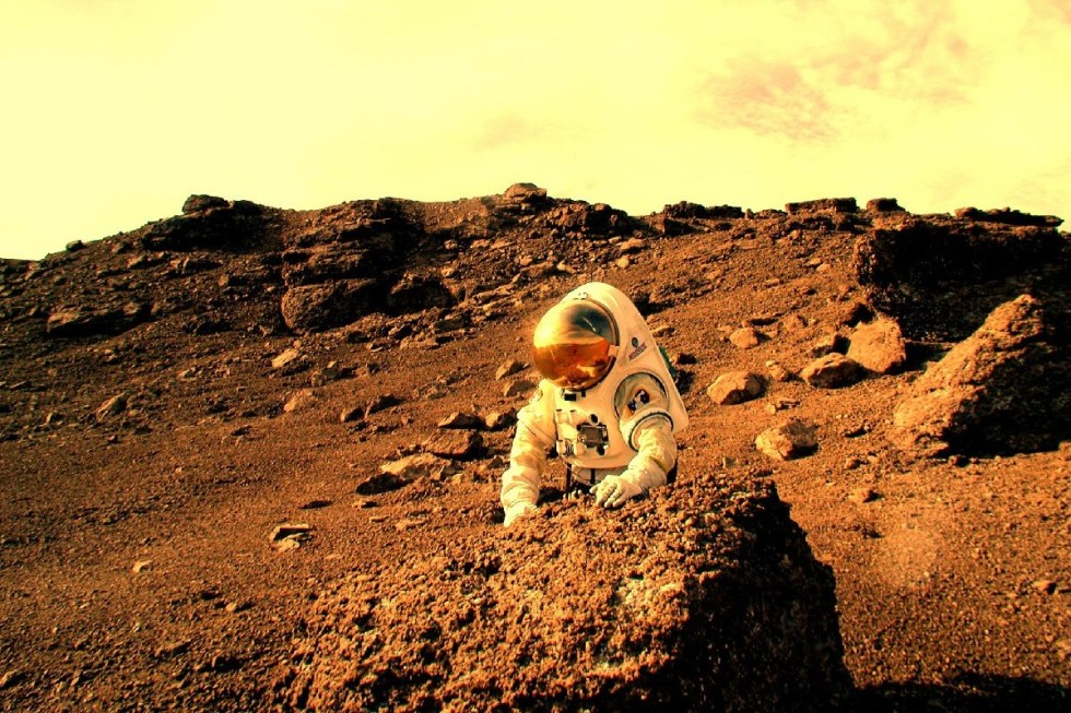 """A concept spacesuit for future Mars exploration undergoing a field test at """"Mars On Earth"""" on Devon Island is shown in this undated handout image."""