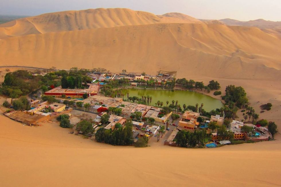 The desert oasis of Huacachina in Peru.