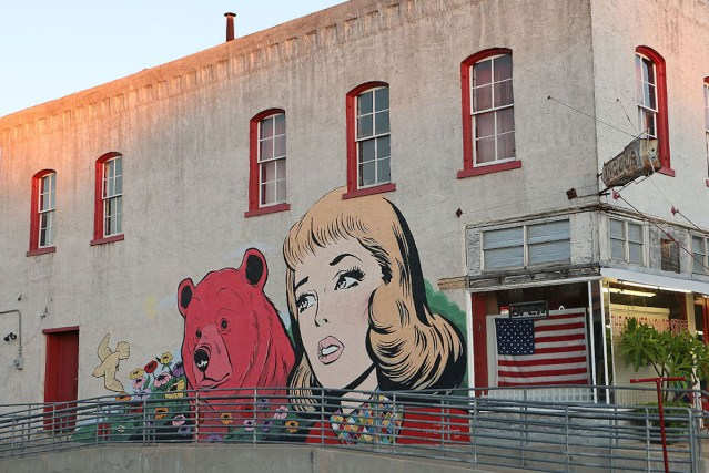 The Michael C. Rodriguez mural at the corner of Commerce and Park Streets in downtown Brenham, Texas.