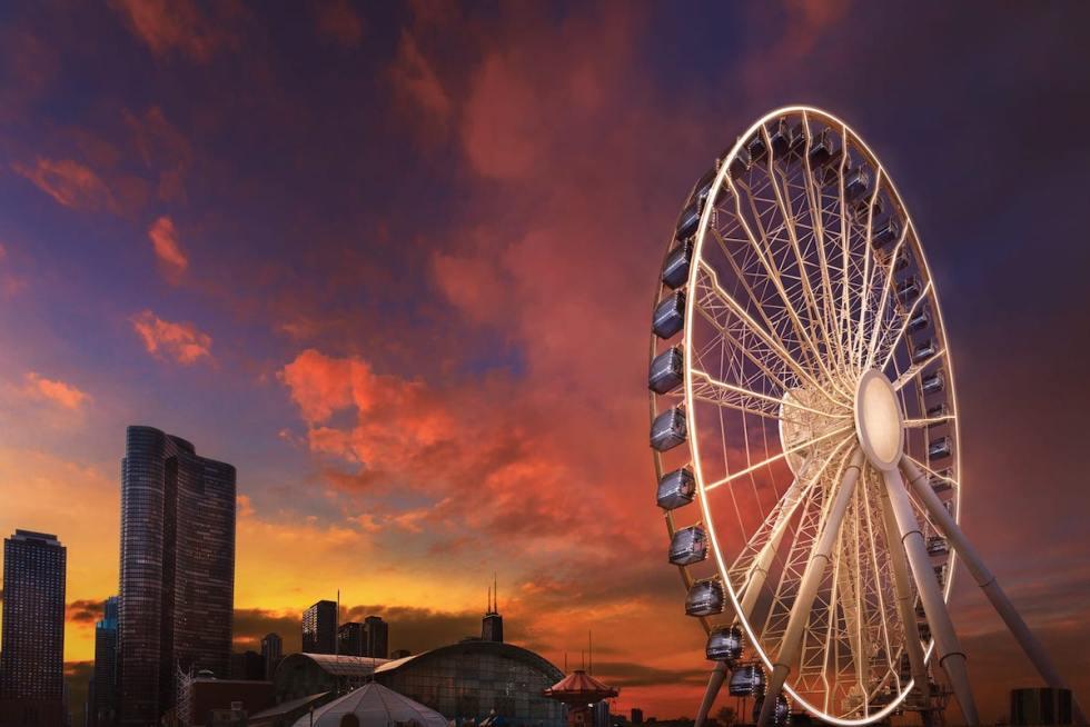 Navy Pier Ferris Wheel in Chicago, United States.