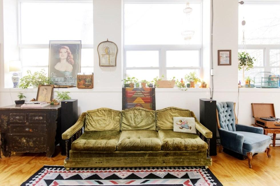 The Funky Loft velvet sofa in Bushwick, Brooklyn, New York.