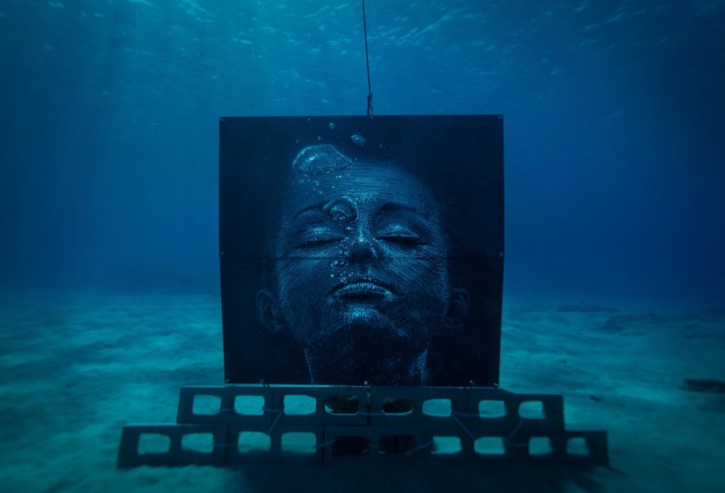 "Sean Yoro's ""Breath"" artificial reef mural from his ""Deep Seads"" series."