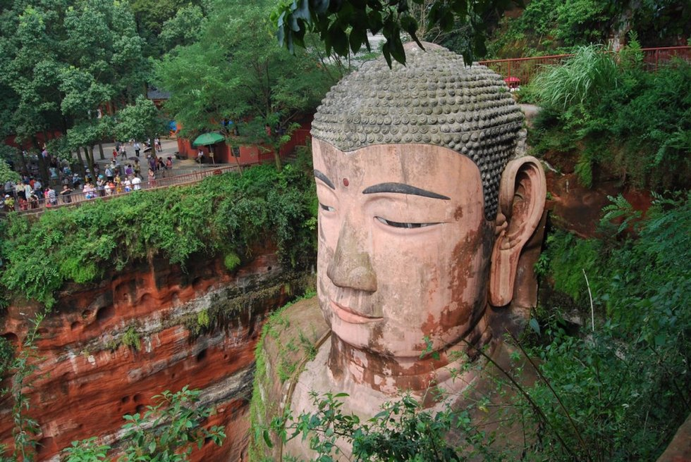 The seated Maitreya Buddha's head