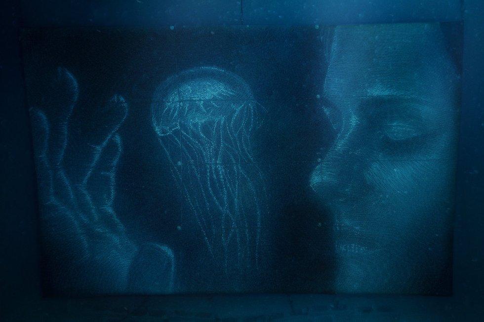 "Sean Yoro's ""Lumens"" artificial reef mural for his ""Deep Seads"" series."