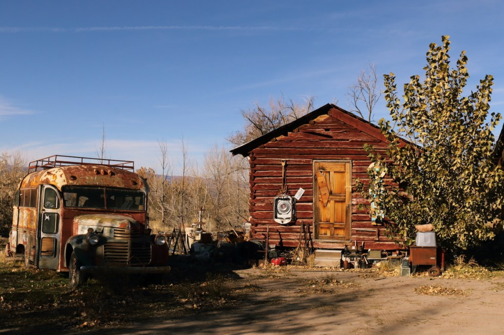 Cabin and bus for overnight stays in Monroe, Utah.