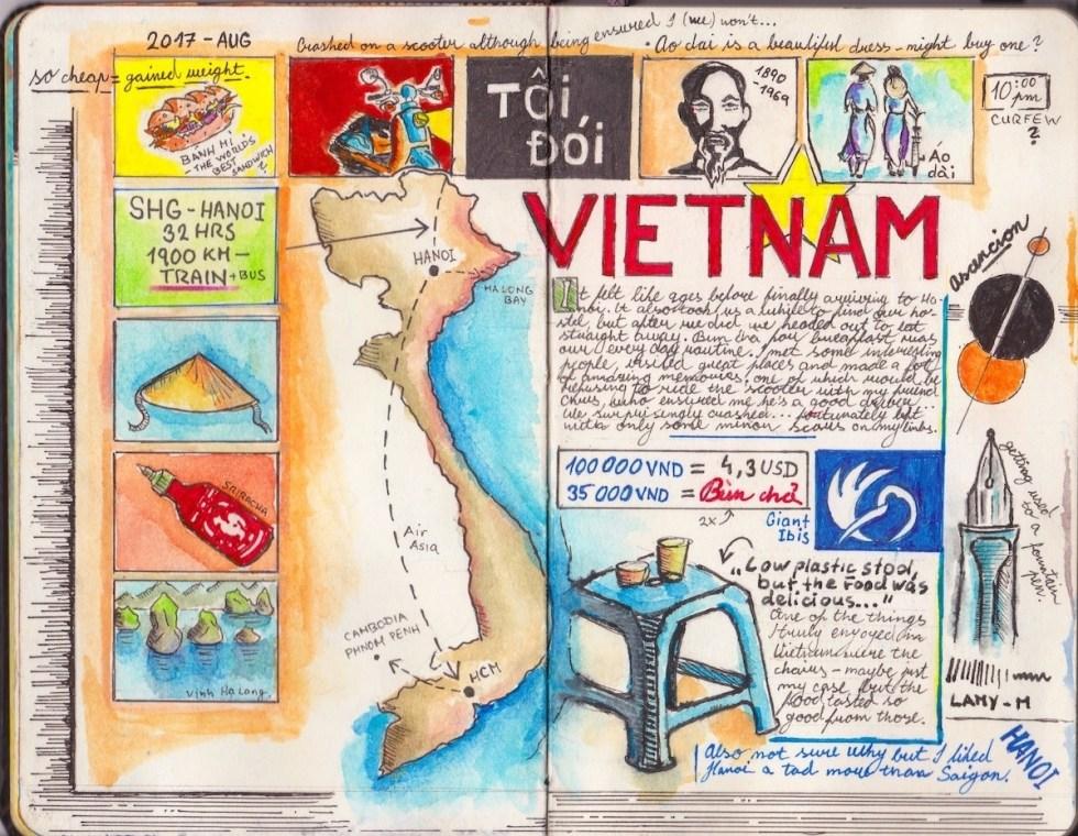 Adam Hackländer's travel journal pages about Vietnam