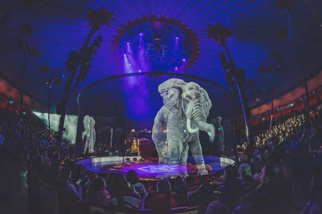 Circus Roncalli using a hologram instead of a real elephant during a cruelty-free show.