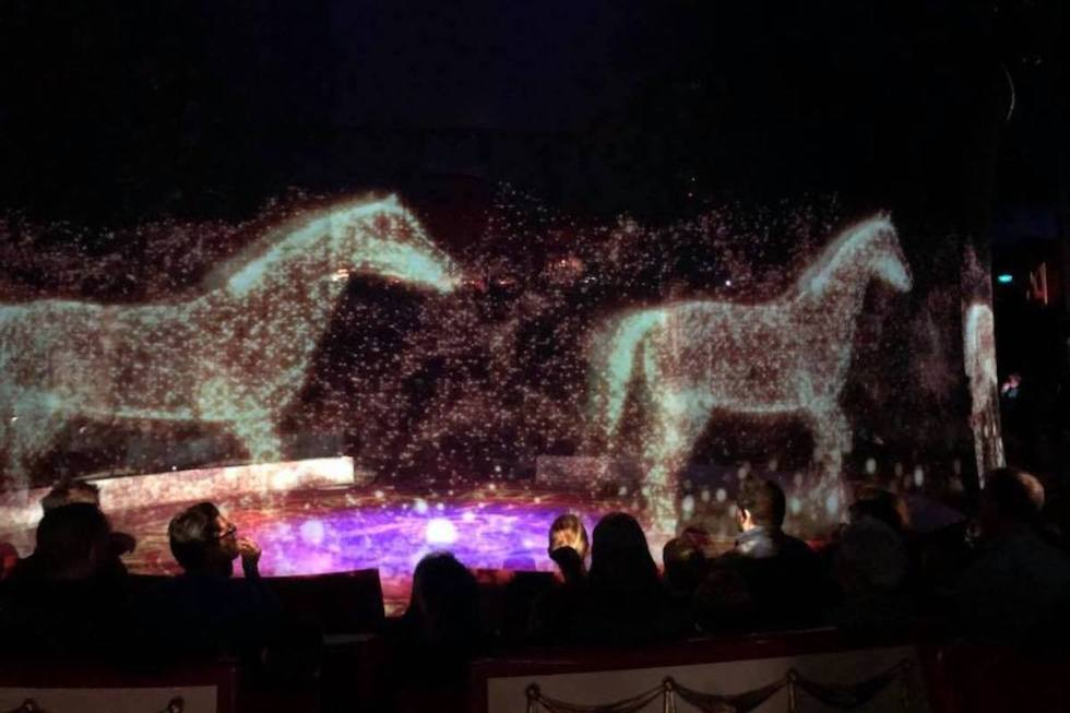 Circus Roncalli using holograms instead of real horses during a cruelty-free show.