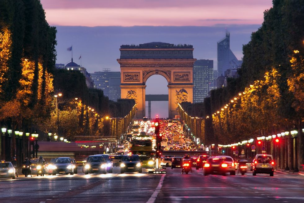 The Arc de Triomphe in Paris, France.