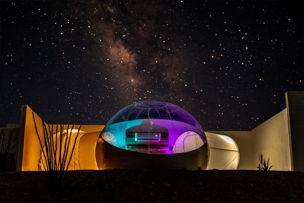 Basecamp Terlingua's bubble under the Texas night sky.