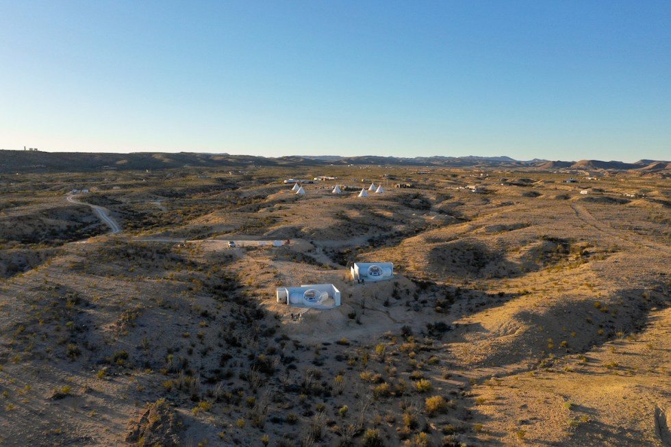 Basecamp Teringua lodging under the Texas sky.