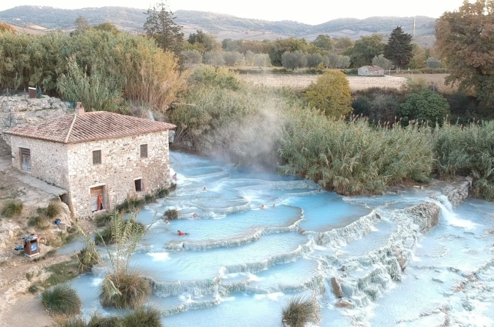 Cascate del Mulino hot springs in Saturnia, Italy.