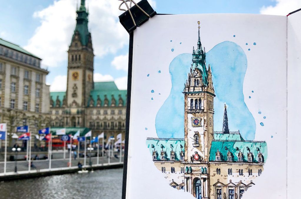 Watercolor sketch of Hamburger Rathaus created by Danny Hawk.