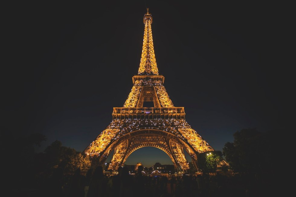 The Eiffel Tower in Paris, France during nighttime.