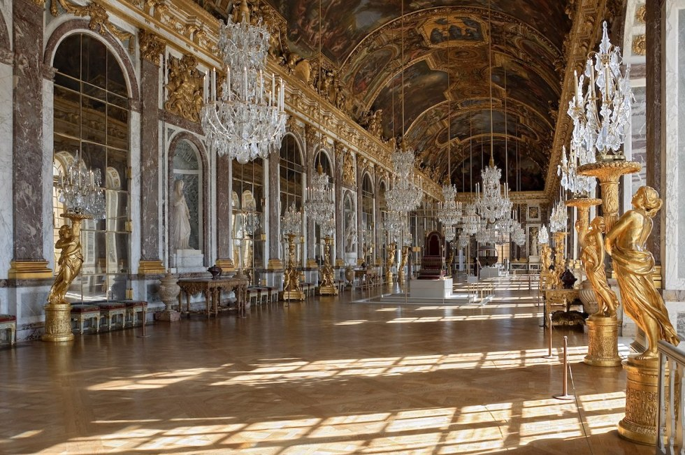 The Hall of Mirrors inside the Château de Versailles in Paris, France.