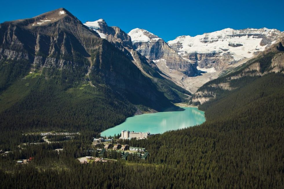 Aerial photo of Lake Louise in Alberta, Canada.
