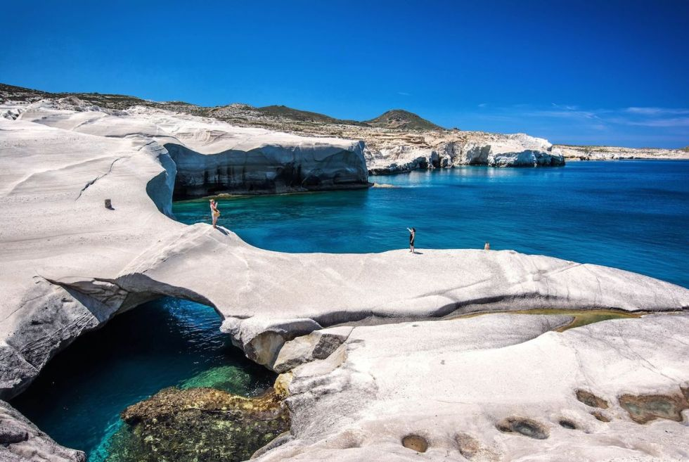 Sarakiniko, one of the most beautiful beaches in Milos, Greece.