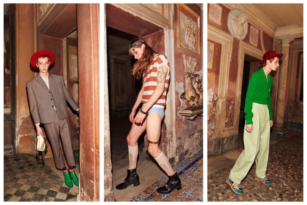 Three photos of Gucci Menswear Cruise Collection art book shot by Yorgos Lanthimos.