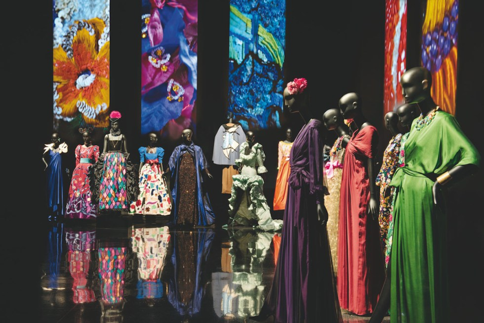 Iconic couture garments displayed at Musée Yves Saint Laurent Marrakech, Morocco.