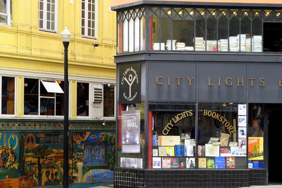 City Lights Bookstore exterior on Columbus Avenue in San Francisco, California