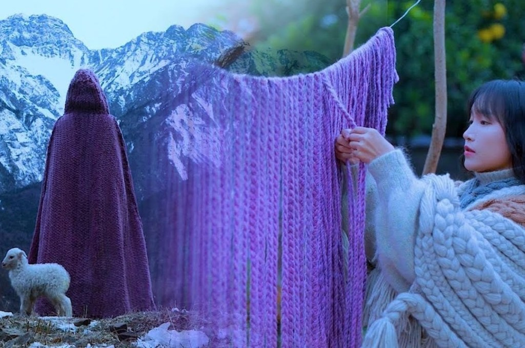 Snapshots of Li Ziqi's Youtube video about a step-by-step process for weaving a dyed wool cloak.