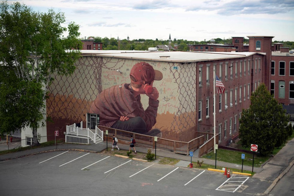 "Large-scale mural in Biddeford, Maine, created for the ""Opening Lines"" project by Detroit-based artist Pat Perry."