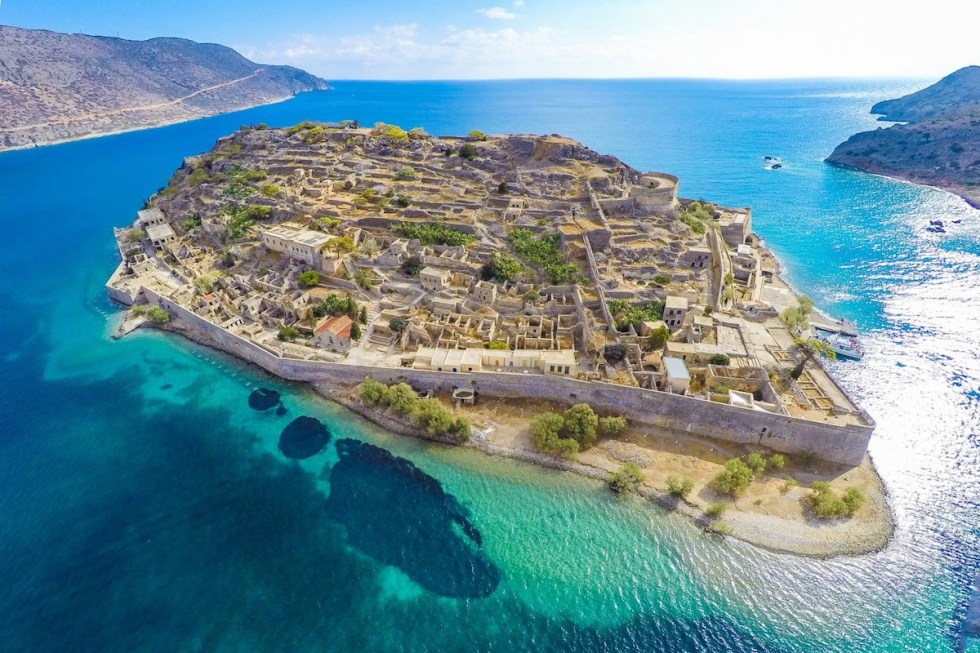Aerial photo of Spinalonga Island in Crete, Greece.