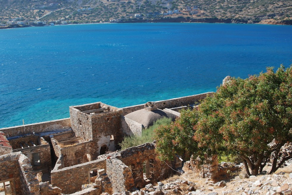 The crumbling remains of Spinalonga Island in Crete, Greece.