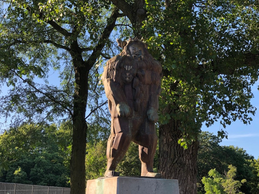 """The Cowardly Lion"" statue, N. Larrabee St. at W. Dickens Ave., Oz Park, Chicago, Illinois."