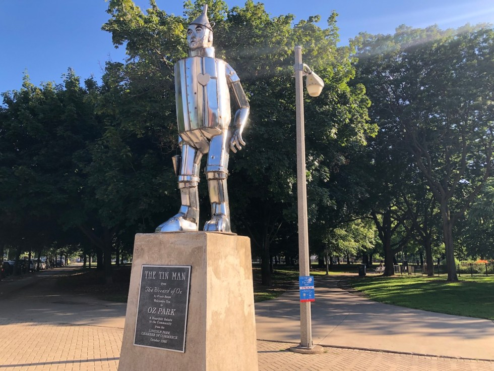 """Tin Man"" statue, W. Webster Ave. at N. Larrabee St., Oz Park, Chicago, Illinois."