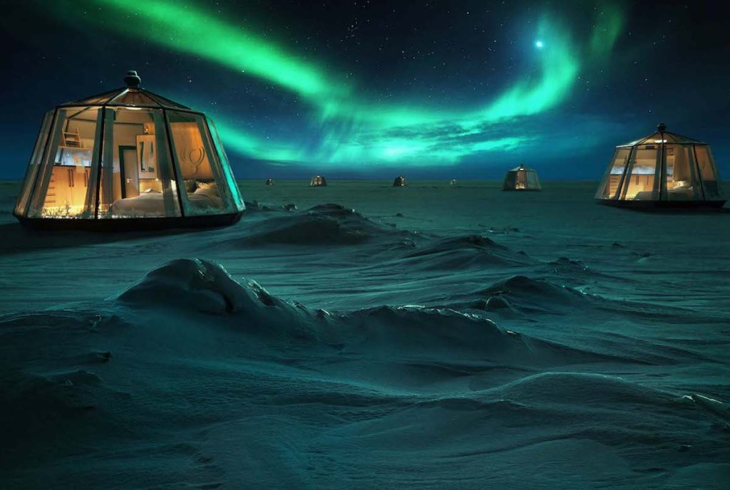 Picture of North Pole Igloos with the Northern Lights in the background