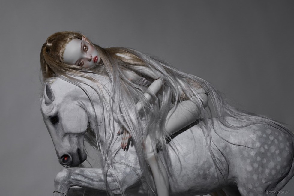 Popovy Sisters fine art doll on a horse