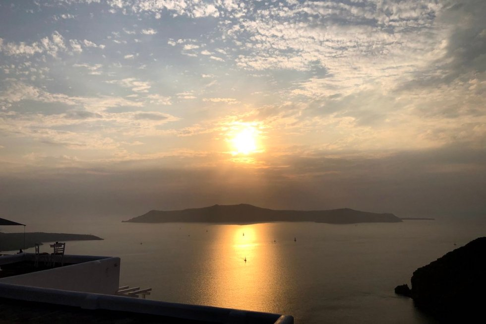 Sunset view of Caldera from Fira, Santorini