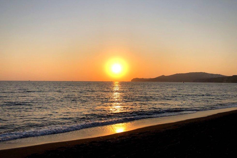 Sunset view from Vlychada Beach, Santorini
