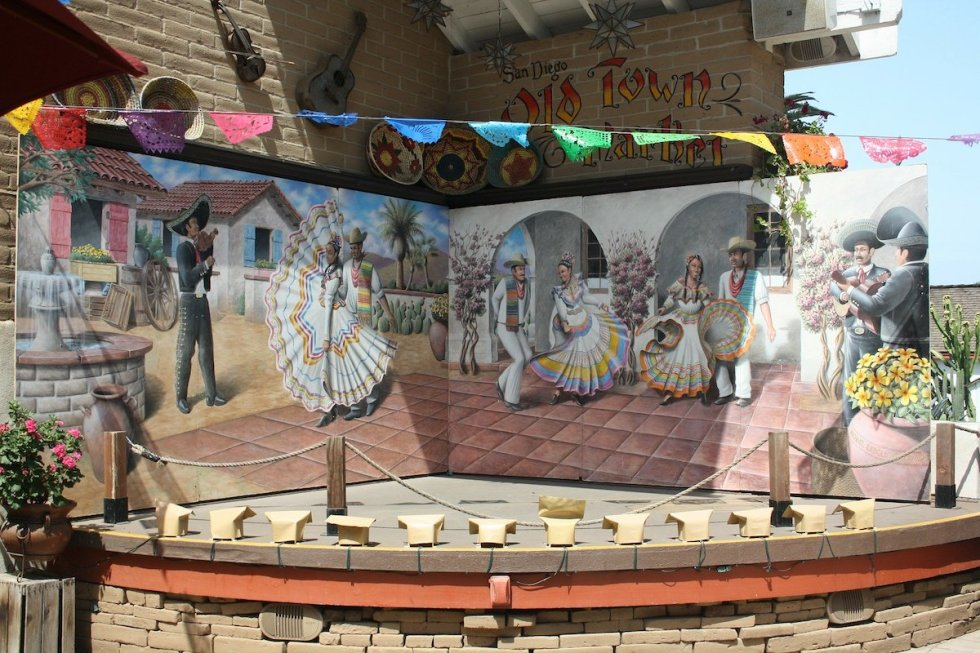 Painting in Old Town San Diego depicting Mexican dancers and musicians entertain themselves
