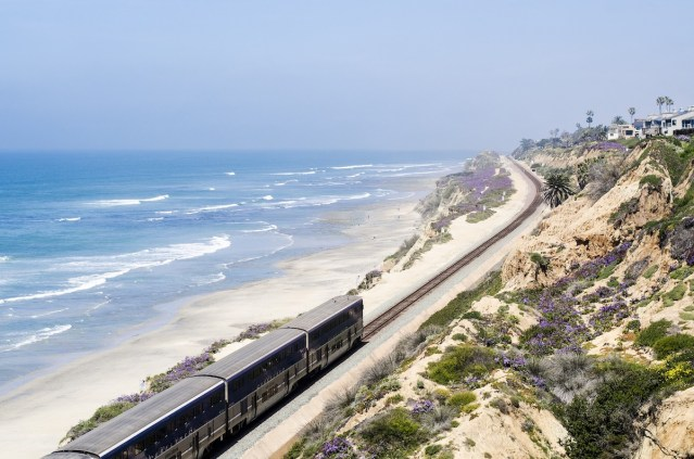 Commuter train providing breathtaking coastal scenery as it runs north and south through San Diego County.