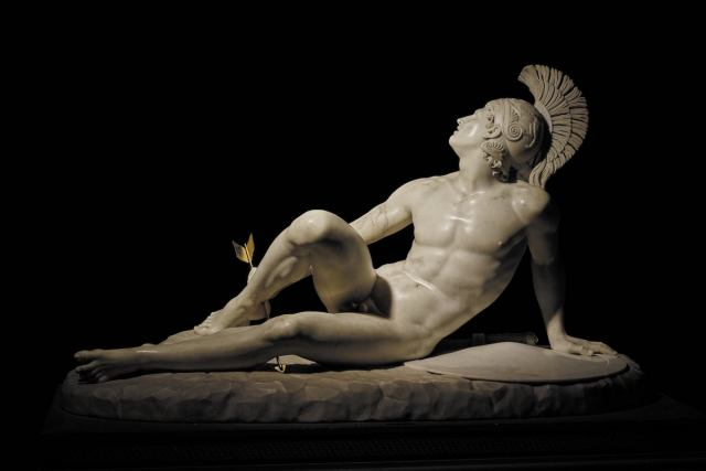 "In this neoclassical marble sculpture, ""Wounded Achilles,"" by Filippo Albacini, Achilles grips the arrow which has pierced his heel."