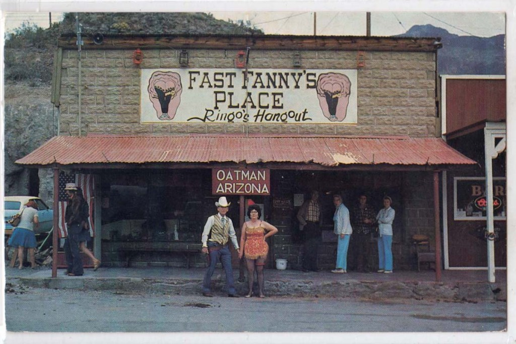 Old photo of Fast Fanny's Place (a former brothel) in Oatman, Arizona