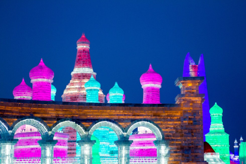 Illuminated ice sculptures during the Harbin International Ice and Snow Sculpture Festival in Heilongjiang Province, China